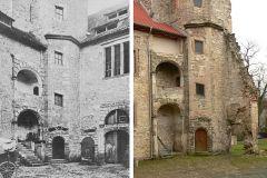 LS-Schloss_Hessen04_Hauptburg_Treppenturm_und_Westflügel_um_1900_und_2012